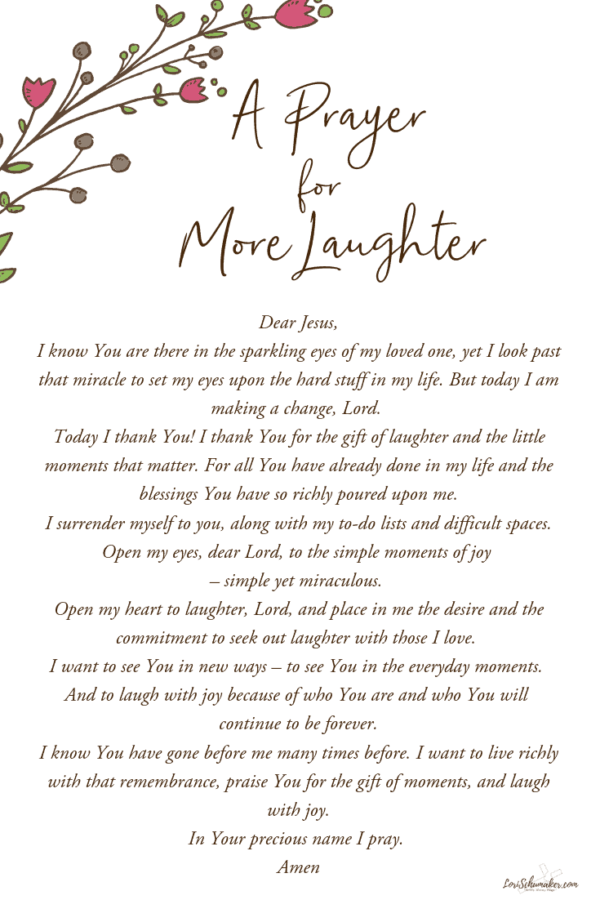 Laughter is good for the soul. Often we think of it as by-product of contentment and joy. Yet, the truth is that it is much more. It ushers in contentment and joy and serves as a mighty weapon against the negativity that traps us and the sorrow that threatens to steal our joy and our hope. #prayer #laughter #laughterisgoodforthesoul #hope #contentment #songsofhope #christianbooks #devotionals #dailydevotions